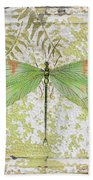 Green Dragonfly On Vintage Tin Beach Towel