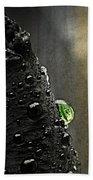 Green Droplet  Beach Towel
