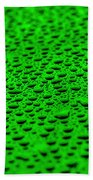 Green Drops On Water-repellent Surface Beach Towel