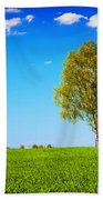 Green Field Landscape With A Single Tree Beach Towel
