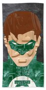Green Lantern Superhero Portrait Recycled License Plate Art Beach Towel