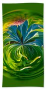 Green Leaf Orb Beach Towel