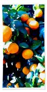 Green Leaves And Mature Oranges On The Tree Beach Towel