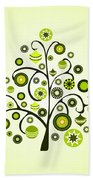 Green Ornaments Beach Towel