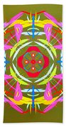 Green Pink Yellow Abstract Beach Towel