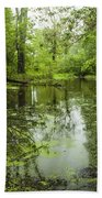 Green Blossoms On Pond Beach Towel