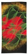 Green Red Gold Abstract Beach Towel