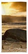 Green Sea Turtle At Sunset V2 Beach Towel