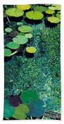 Green Shimmering Pond Beach Towel