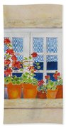 Green Shutters With Red Flowers Beach Towel