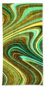 Green Swirls Mind Bend Beach Towel
