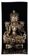 Green Tara Buddhist Goddess Statue Beach Towel