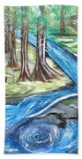 Green Trees With Rocks And River Beach Towel