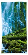 Green Waterfall Beach Towel