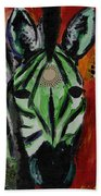 Green Zebra Stripes  Beach Towel