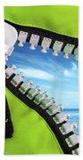 Green Zipper Beach Towel