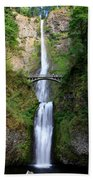 Greenery Of Multnomah Falls Beach Towel