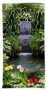Greenhouse Garden Waterfall Beach Towel