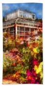 Greenhouse - The Greenhouse And The Garden Beach Towel by Mike Savad