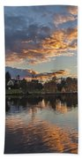 Greenlake Autumn Sunset Beach Towel
