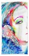 Greta Garbo - Colored Pens Portrait Beach Towel