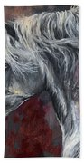 Grey Andalusian Horse Oil Painting 2013 11 26 Beach Towel
