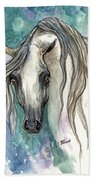 Grey Arabian Horse 2013 11 26 Beach Towel