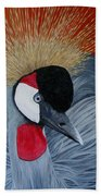 Grey Crowned Crane Beach Towel