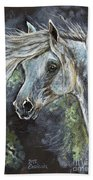 Grey Pony With Long Mane Oil Painting Beach Towel