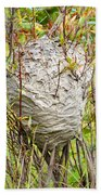 Grey Wasps Nest In Willow Bush Beach Towel