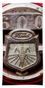 Grill Logo Detail - 1950s-vintage Ford 601 Workmaster Tractor Beach Towel