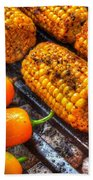 Grilling Corn And Peppers Beach Towel
