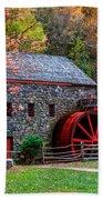 Grist Mill In Autumn Beach Towel