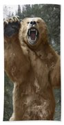 Grizzly Bear Attack On The Trail Beach Towel
