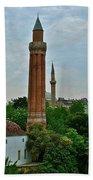 Grooved Minaret Fromthirteenth Century In Antalya-turkey Beach Towel