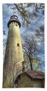 Grosse Point Lighthouse Color Beach Towel