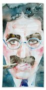 Groucho Marx Watercolor Portrait.1 Beach Towel