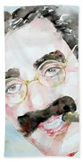 Groucho Marx Watercolor Portrait.2 Beach Sheet