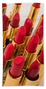 Group Of Red Lipsticks Beach Towel