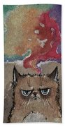 Grumpy Cat And Her Colorful Dreams Beach Towel