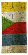 Grunge Comoros Flag Beach Towel