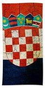 Grunge Croatia Flag Beach Towel