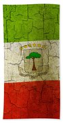 Grunge Equatorial Guinea Flag Beach Towel