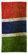 Grunge Gambia Flag Beach Towel