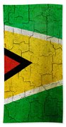 Grunge Guyana Flag Beach Towel