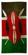 Grunge Kenya Flag Beach Towel