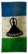 Grunge Lesotho Flag Beach Towel