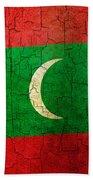 Grunge Maldives Flag Beach Towel