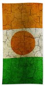 Grunge Niger Flag Beach Towel