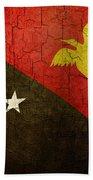 Grunge Papua New Guinea Flag Beach Towel